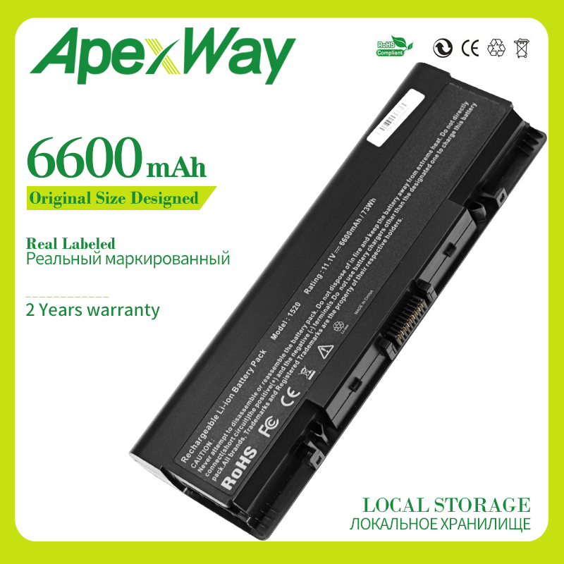 Apexway 9 cells Laptop <font><b>Battery</b></font> for <font><b>Dell</b></font> <font><b>Inspiron</b></font> 1520 <font><b>1720</b></font> 530s 1521 1721 DY375 GR986 FK890 FP282 GK479 GR995 KG479 NR222 NR239 image