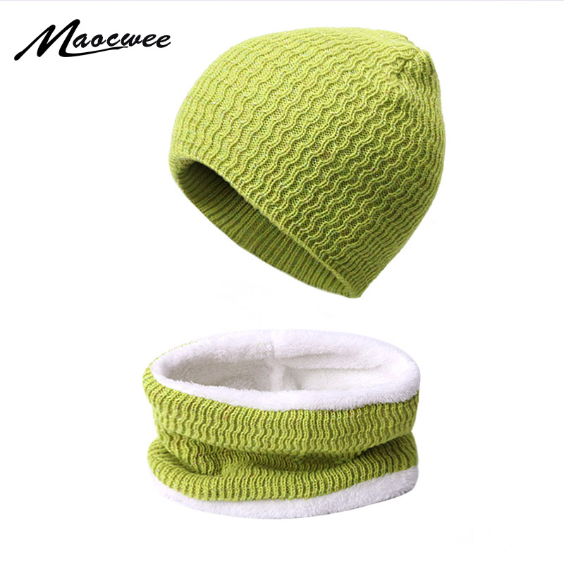 Winter Warm Neck Scarf Beanie Hat Set Female Hats Scarves Outdoor Plus Velvet Knit Women Scarf Hat With Lining Three-Piece Set