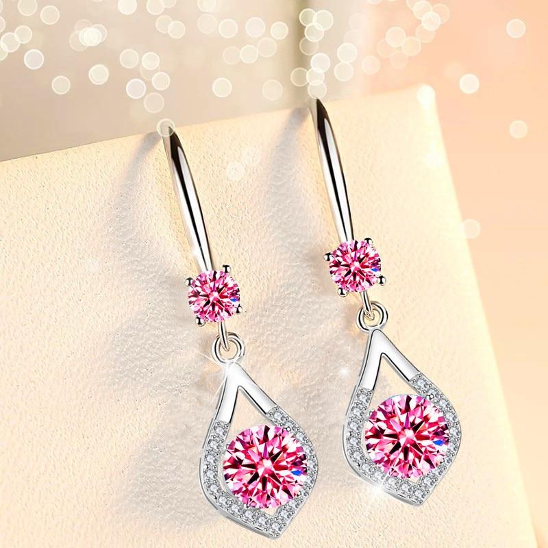Boho Female Blue Water Drop Earrings Cute Round Crystal Dangle Earrings For Women Charm Zircon Stone Wedding Earrings