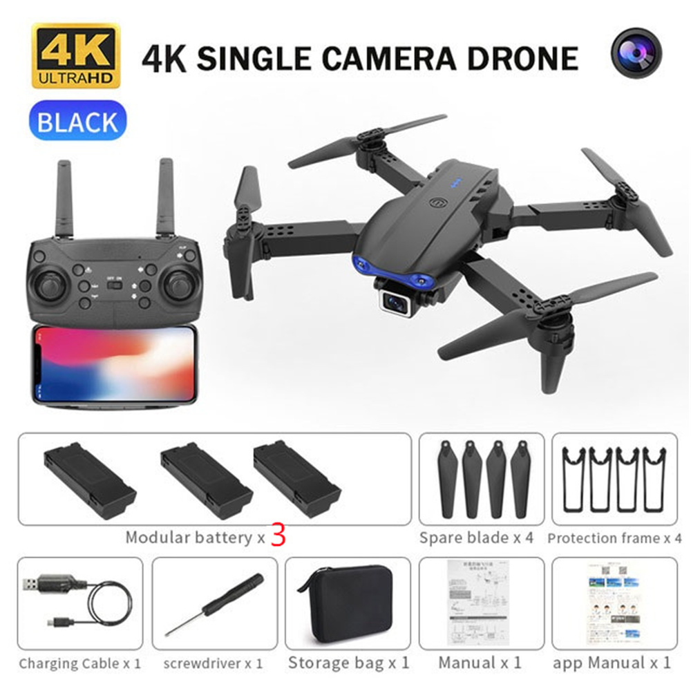 Mini Drone K3 witn 4K HD Double Camera Selfie RC Quadcopter Folding Arm UAV Altitude HoldMode Helicopter Toy GIft for Kids Adult