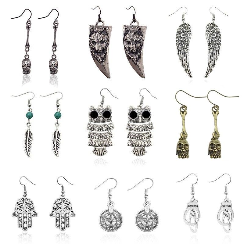 Gothic Punk Skull Ear Jewelry For Men Vintage Angel Wings Earring Owl Wolf Handcuffs Animal Earings Men Ear Jewelry