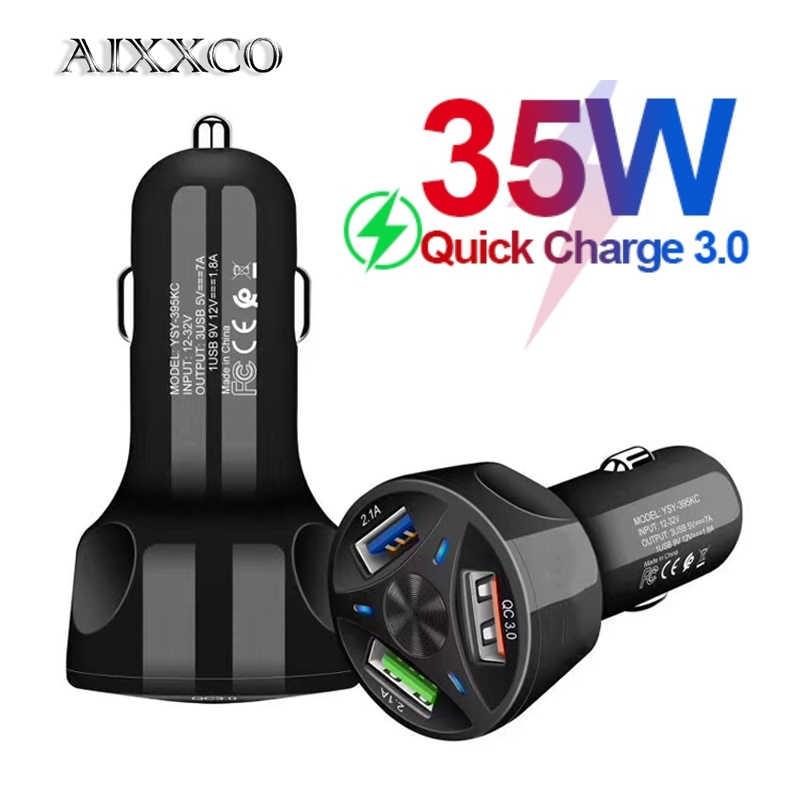 AIXXCO 3 porty ładowarka samochodowa USB szybkie ładowanie 3.0 szybka zapalniczka samochodowa do Samsung Huawei Xiaomi iphone ładowarka samochodowa QC 3.0
