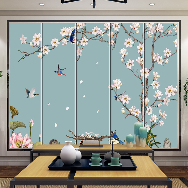 3D Hard Bag Soft Bag Mural Fabric Living Room TV Wall New Chinese Style Flowers And Birds Plum Hard TV Backdrop Mural