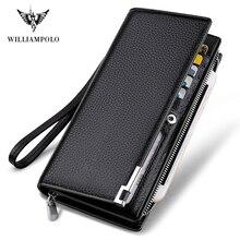 WILLIAMPOLO moda uzun tasarım hakiki inek deri cüzdan adam Metal köşe telefon cüzdan lüks cüzdan siyah #129