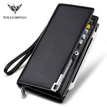 Williampolo ファッションロングデザイン本物の牛革財布男金属コーナー電話財布高級財布黒 #129