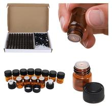 100 Uds. Viales de cristal ámbar de 1ml 2ml 3ml, Mini botellas de aceite esencial con reductor de orificio y tapa de plástico negro