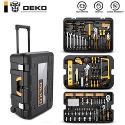 Deko 258 pçs conjunto de ferramentas com caixa de ferramentas rolamento chave de soquete métrica kit de ferramentas de mão caso de armazenamento chave de soquete chave de fenda faca