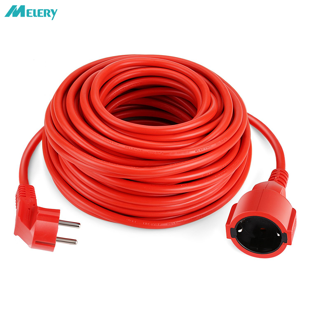 Power Extension Cord 20m Cable EU Outlets 4000w Electric Strip Schuko 1.5mm Red Indoor Plug Sockets
