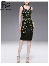 Baogarret Summer luxury Sexy Black Jacquard Skirt Suit Women's Beading Diamond Corset + Package Buttocks High Waist Skirts все цены