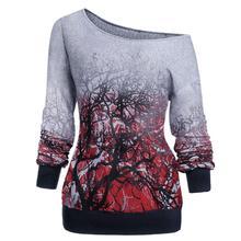 Plus Size Women Long Sleeve Shirts Streetwear Skew Neck 3D Tree Print Sweatshirt Gothic Tops Autumn Shirts Female 2019 недорого