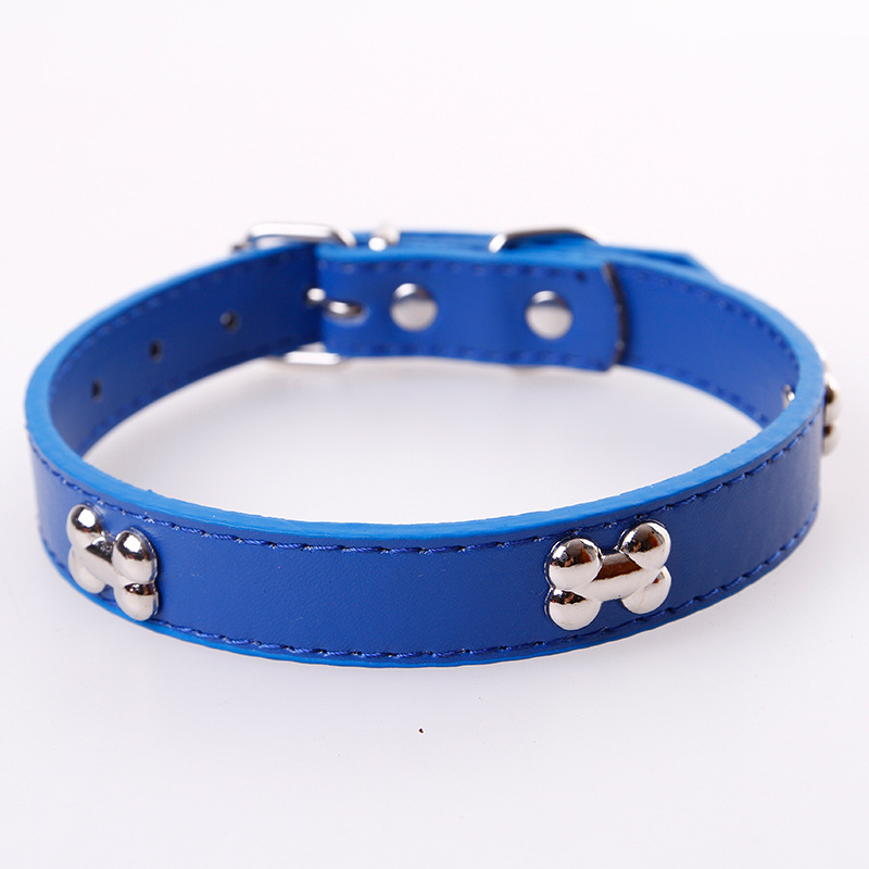 Sleeves Pet Supplies New Style Pu Bone Neck Ring Dog Bone Iron Piece Pet Collar Multi-color
