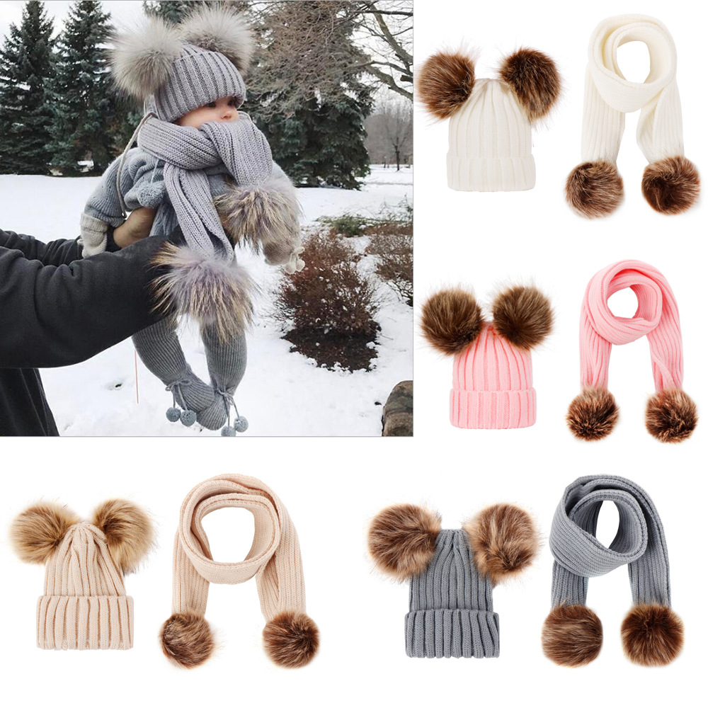 Acrylic Wool Hair Fur Ball Knitted Scarf Hat Cute Warm Soft  Kids Winter Sets  Baby Girl Boy 1-2 Years Old Accessories