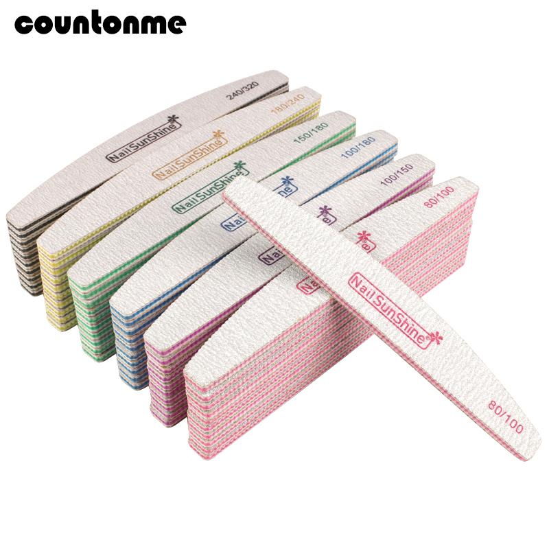 50pcs Acrylic Nail File Strong Sandpaper Nail Buffer Block For Manicure Lime A Ongle 80/100/150/180/240/320 Washable Boat Files