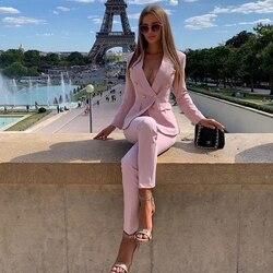 Прямая поставка Розовый Красный брючный костюм женский деловой классический золотой двубортный пиджак на пуговицах брюки два предмета наб...