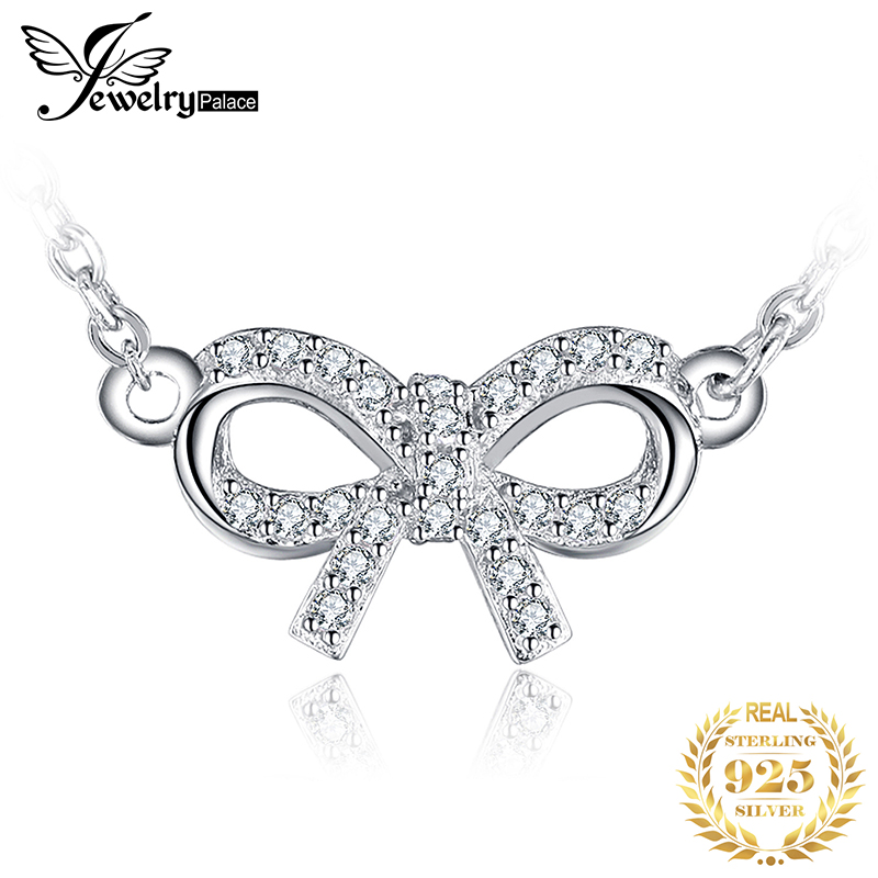 JewelryPalace Charming Bow Round Cubic Zirconia Pendant Necklace Real 925 Sterling Silver Jewelry For Women Charms New