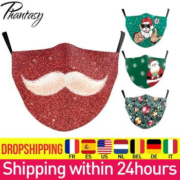 Phantasy Merry Christmas Party Face Mask Cover Fashion 3D Printed Adult Kids Washable Breathable Face Fabric Mouth Mask Mascara