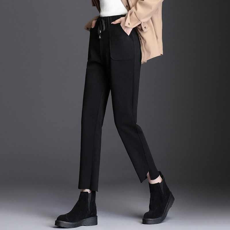 2020 kore sonbahar kış yün harem pantolon kadınlar yüksek bel katı rahat gevşek kalem pantolon İpli zarif kadın pantolon