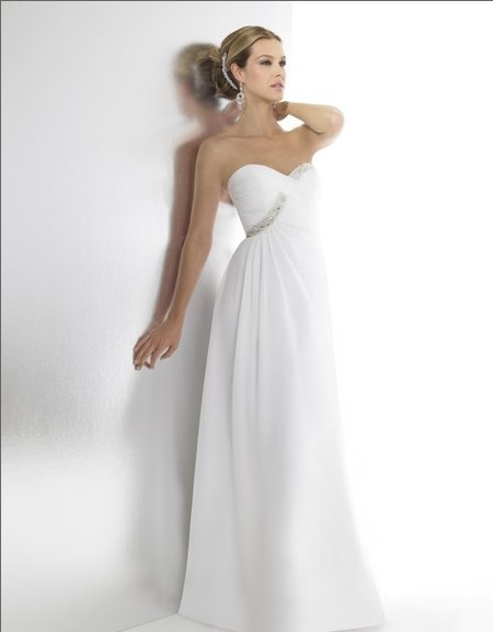 Free Shipping Chiffon A-line Sweetheart Custom Natural Waist Silver/off-white Embroidery Train Beads Sequin Bridal Wedding Dress