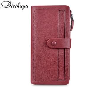 Image 2 - Dicihaya ホット販売の女性のクラッチ革財布女性長財布よりカード女性ジッパー財布マネーバッグ財布電話バッグ