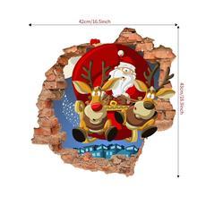 Santa Claus Wall Sticker Elk Pull Santa Claus Gift 3D Wall Sticker Christmas Decoration Wall Sticker Home Decoration