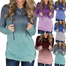 Contrast Color Hoody Harajuku Print Women Sweatshirts Hooded Kawaii Hoodies Pullovers Button Pockets Outwear Femme Coat Feminina цена 2017