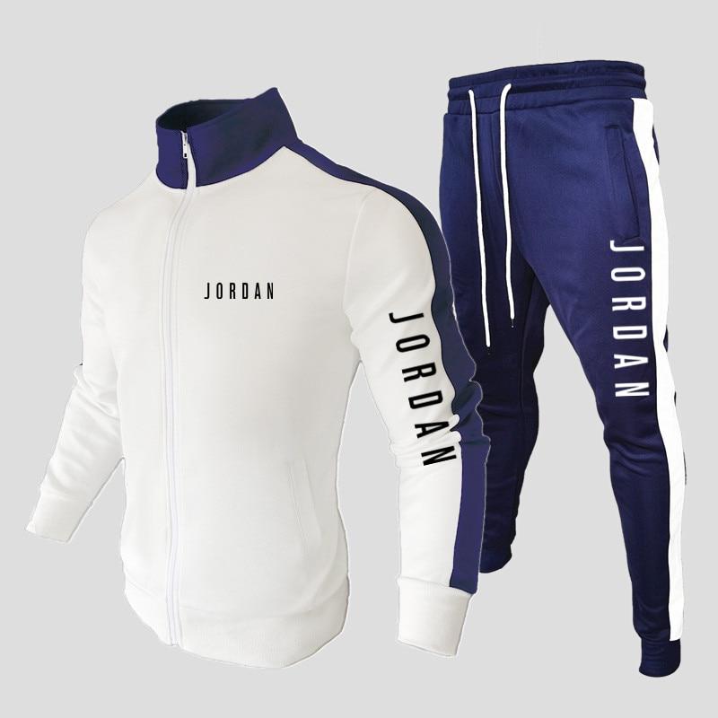 Новинка 2021, мужской спортивный костюм, свитшот + спортивные штаны, спортивная одежда с воротником на молнии, спортивная одежда, повседневная...