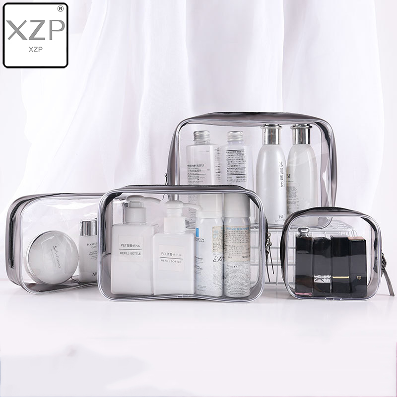 XZP Transparent Cosmetic Bag PVC Women Zipper Clear Makeup Bags Beauty Case Make Up Organizer Storage Bath Toiletry Wash Bag
