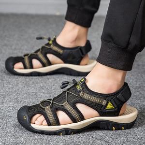 Image 5 - Surgutクラシック男性サンダルソフトで快適な男性の夏の靴2021新メッシュトップ品質ローマのサンダルの靴ビッグサイズ47