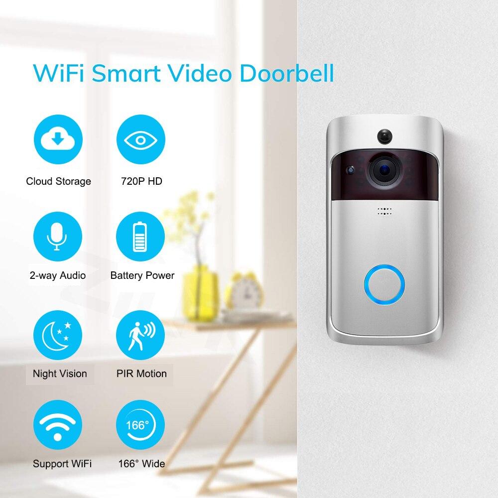 Смарт-видео, дверной звонок Беспроводная камера Wi-Fi для дверного звонка 720P Домашняя безопасность ip-интерком дверь телефон с питанием от аккумулятора PIR сигнализация облако