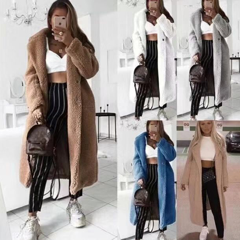 Autumn Winter Faux Fur Teddy Coat Women 2019 Casual Plus Size Long Jacket Female Thick Warm Black Outwear Manteau Fourrure Femme