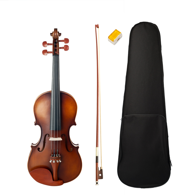 NAOMI Acoustic Violin 4/4 Full Size Violin Fiddle with Bow Case Bridge Jujube Wood Accessories