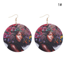 Bohemia Unique Wood Head portrait 1Pair Vintage Personality Printing Fashion African Beautys Women Handmad Drop Earring