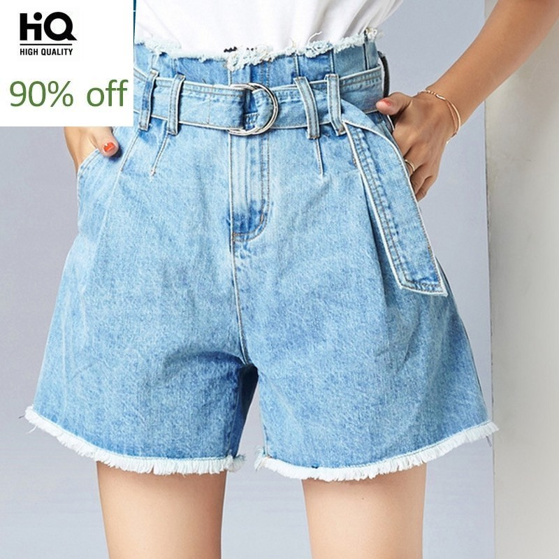 Women High Waist Denim Shorts Sashes Female Straight Wide Leg Short Jeans New Ladies Tassel High Street Feminino Denim Shorts