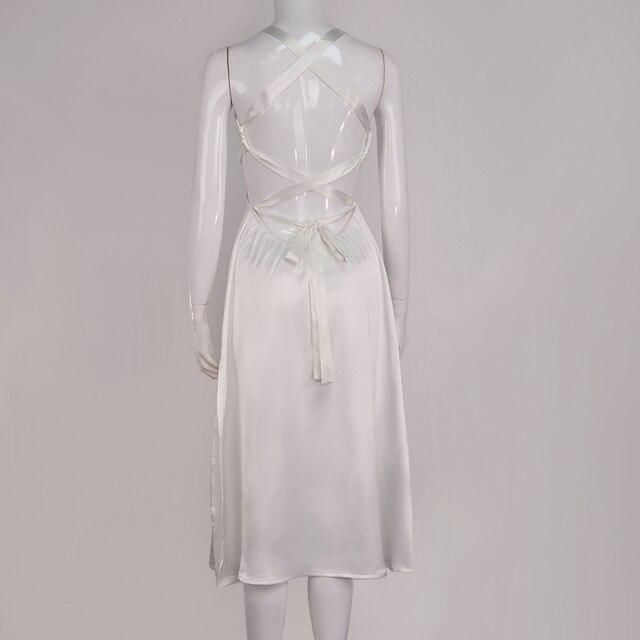 NewAsia Backless White Dress Woman Tie up V Neck Split Midi Sexy Dresses Ladies A Line Robe Casual Party Fashion Beach Vestidos 6