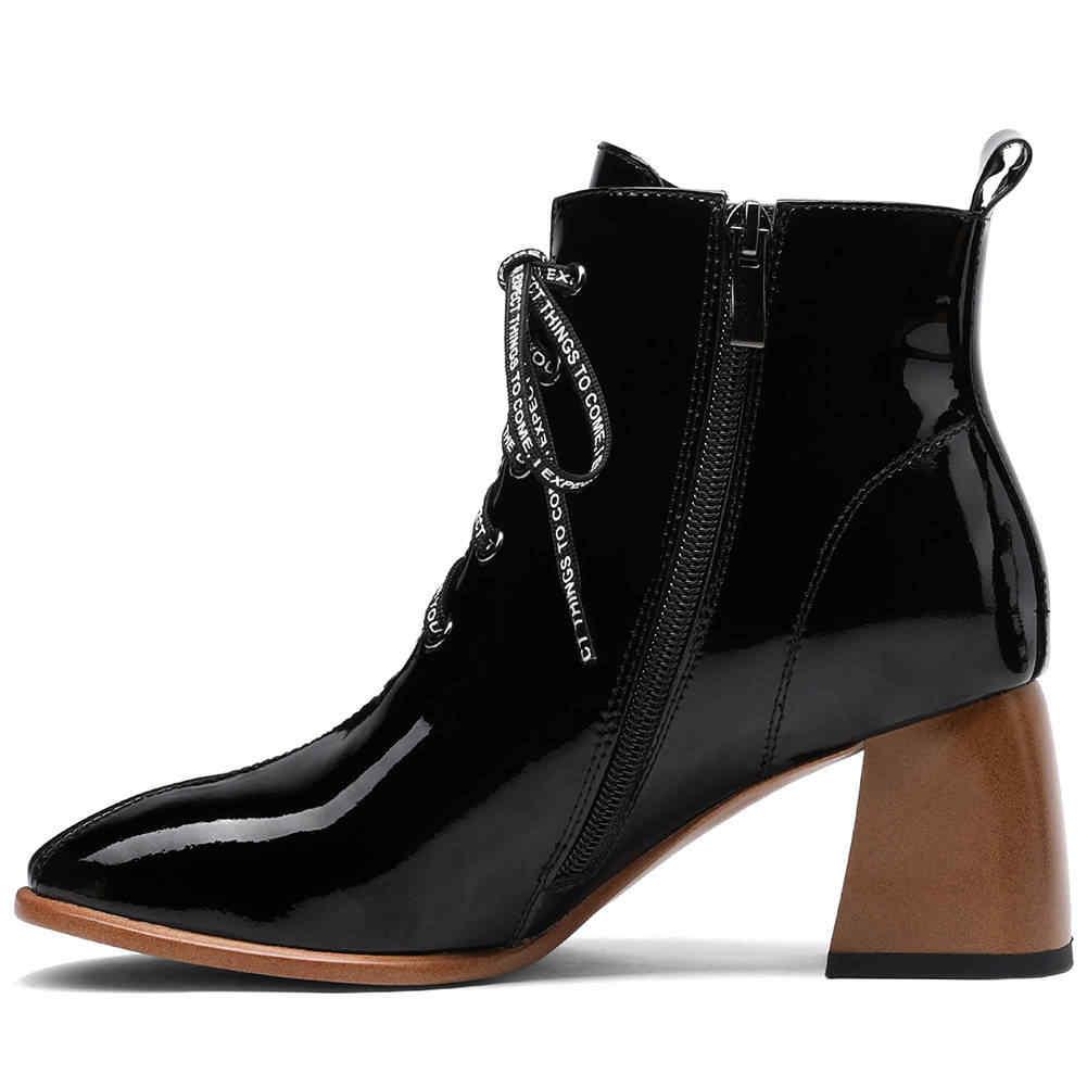 Doratasia 2020 ฤดูหนาว elegant shoelaces สิทธิบัตรหนังรองเท้าข้อเท้ารองเท้าผู้หญิงรองเท้าผู้หญิงรองเท้าส้นสูงรองเท้าผู้หญิงหญิงรองเท้า