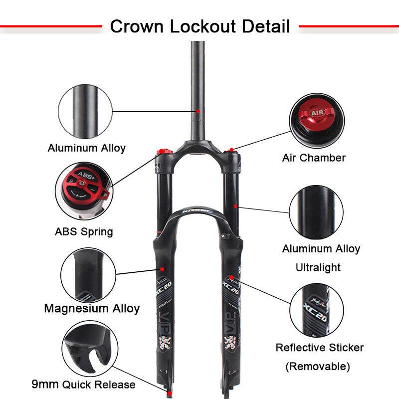 "1-1//8/"" Mountain Bike Air Shock Suspension Fork 26//27.5//29er 120mm Travel Disc"
