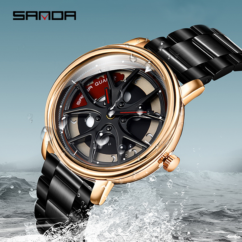 SANDA High Quality Stainless Steel Strap Men Watch Premium Quartz Movement Wheel Shaped Rotating Dial Relogio Masculino 1025