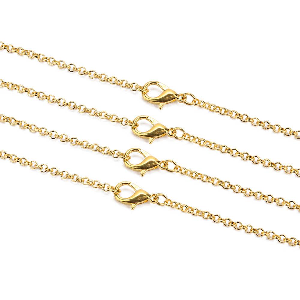 10 pçs/lote Prata Ouro Antigo Cor Bronze 3mm 60 centímetros Redonda Colar Chain link com Fecho Da Lagosta Fit Jóias DIY Fazendo Descobertas