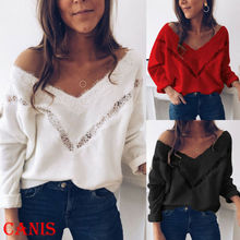 Hot Sexy Floral Lace Stylish Women Fashion Tee Soft Loose Long Sleeve Shirt Tops