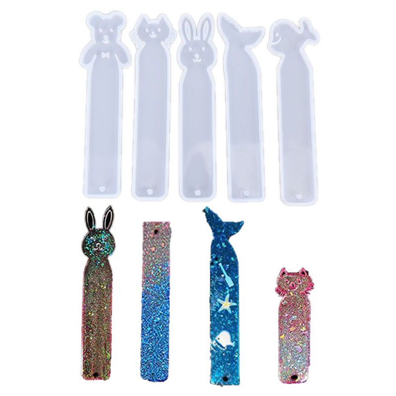 Resin Bookmark Mould Rectangle Animal Silicone Mold DIY Making Epoxy Jewelry