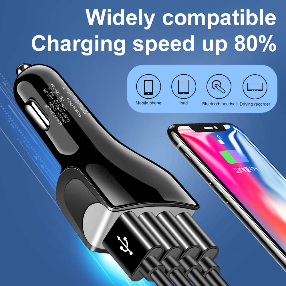 Cepat Biaya 3.0 Charger Mobil QC3.0 4 Port Cepat Pengisian Mobil Charger untuk Samsung Xiaomi iPhone Ponsel Mobil charger