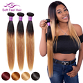 Soft Feel Hair 1/3/4 Pcs Blonde Bundles Ombre Brazilian Straight Hair Bundles T1B/27 Human Hair Weave Bundles Remy Extensions