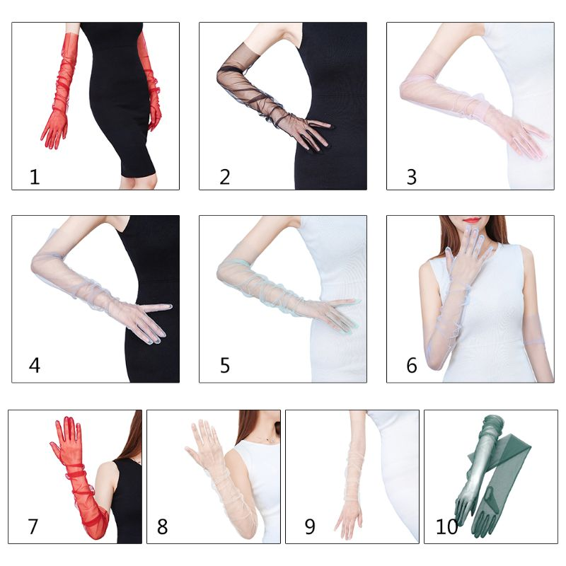 Women Tulle Elbow Long Wedding Gloves Solid Color Sheer Vintage  Mittens