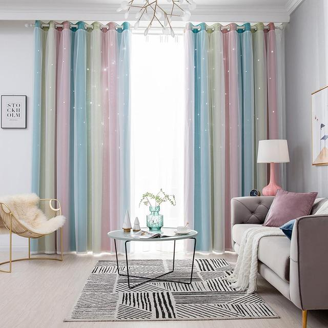 Gradient Hollow Star Curtain Hot Selling Soft Surface Delicate Breathable Full Blackout Window Drapes for Living Room Bedroom 1