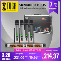 XTUGA SKM4000 PLUS Professional 4*100 Channels UHF wireless microphone system Metal Built, Selectable Frequency, Up to 260Ft