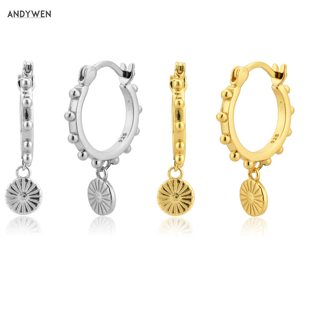 ANDYWEN 925 Sterling Silver Gold Coins Drop Earring 10.5mm Piercing Rund Luxury Jewelry 2020 Rock Punk Circle Pendientes