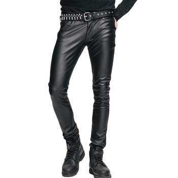Devil Fashion Men's Gothic Close Pants Men's Winter Stretch Pu Leather Long Trousers