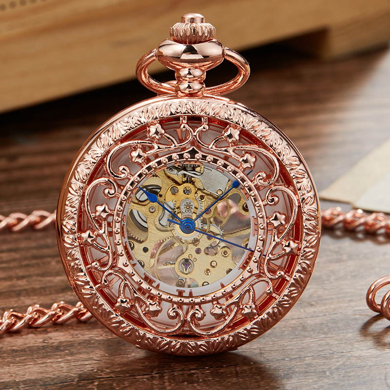 Retro Mechanical Pocket Watch For Men Hollow Sculpture Skeleton Steampunk Roman Number Dial Hand-wind Watches Reloj De Bolsillo