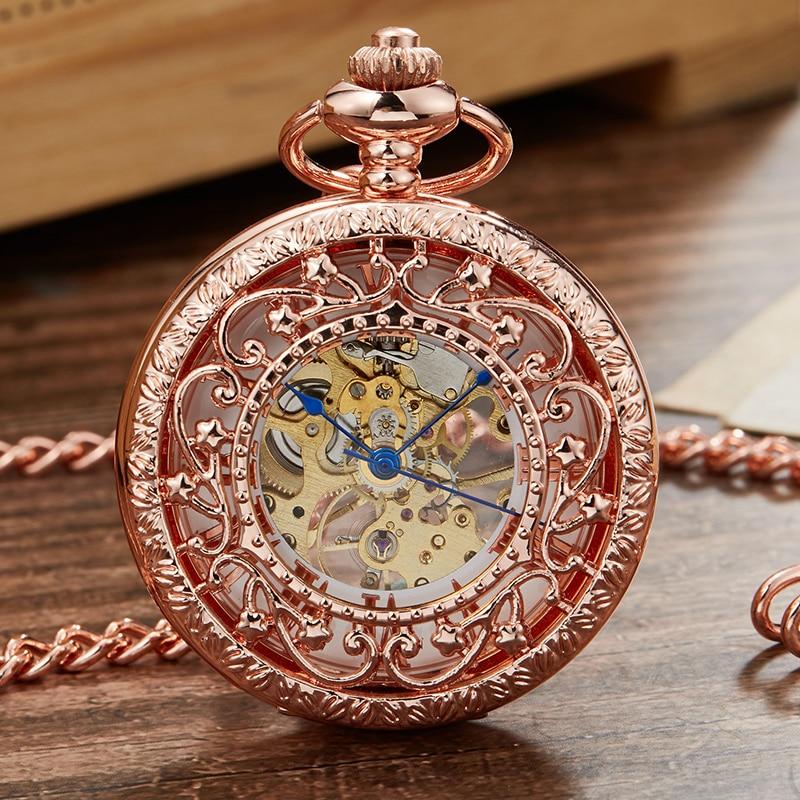 Retro Mechanical Pocket Watch For Men Hollow Sculpture Skeleton Steampunk Roman Number Dial Hand-wind Watches Reloj De Bolsillo