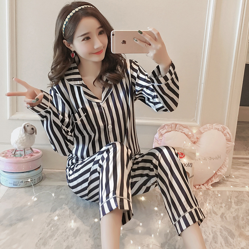Europe And America Pajamas Suit New Style WOMEN'S Long Sleeve Trousers Stripes Sweet Imitated Silk Fabric Tracksuit Silk Pajamas